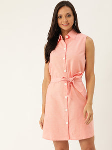 Rue Collection Women Peach-Coloured Solid Shirt Dress