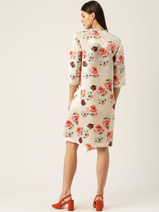 Women Cream-Colored & Pink Floral Printed Satin Finish Wrap Dress