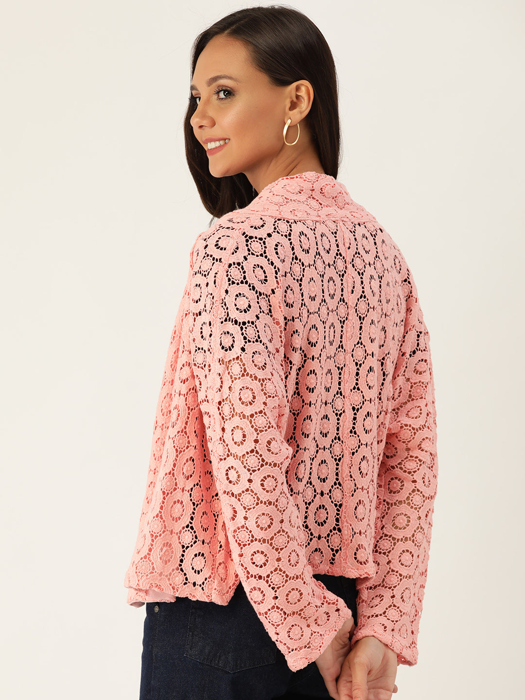 Rue Collection Women Pink Floral Self-Design Open Front Lace Shrug