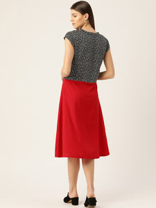 Women Black & Red Printed A-Line Dress