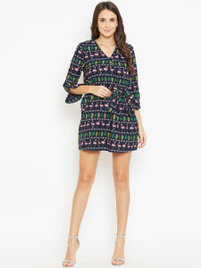 Tie Knot Detail Quirky A-Line Dress