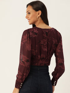 Rue Collection Women Burgundy Floral Print Empire Crop Top
