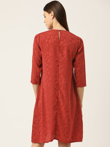 Women Rust Red Self Design A-Line Dress