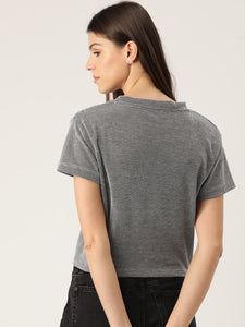 Women Charcoal Grey & White Self-Design Crop Top