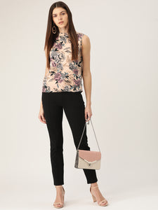 Women Beige & Pink Printed Top