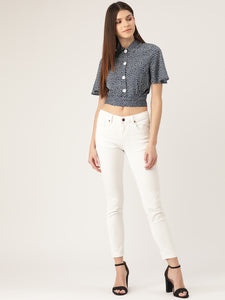 Women Navy Blue & White Regular Fit Printed Crop Casual Shirt