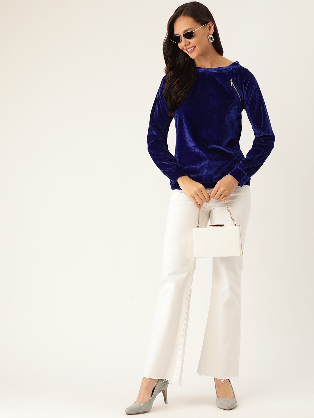 Rue Collection Women Blue Velvet Finish Solid Top