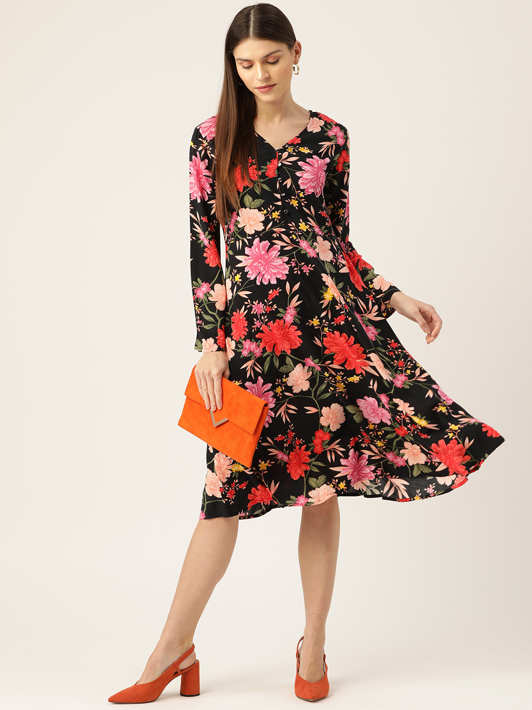Women Black & Pink Printed A-Line Dress