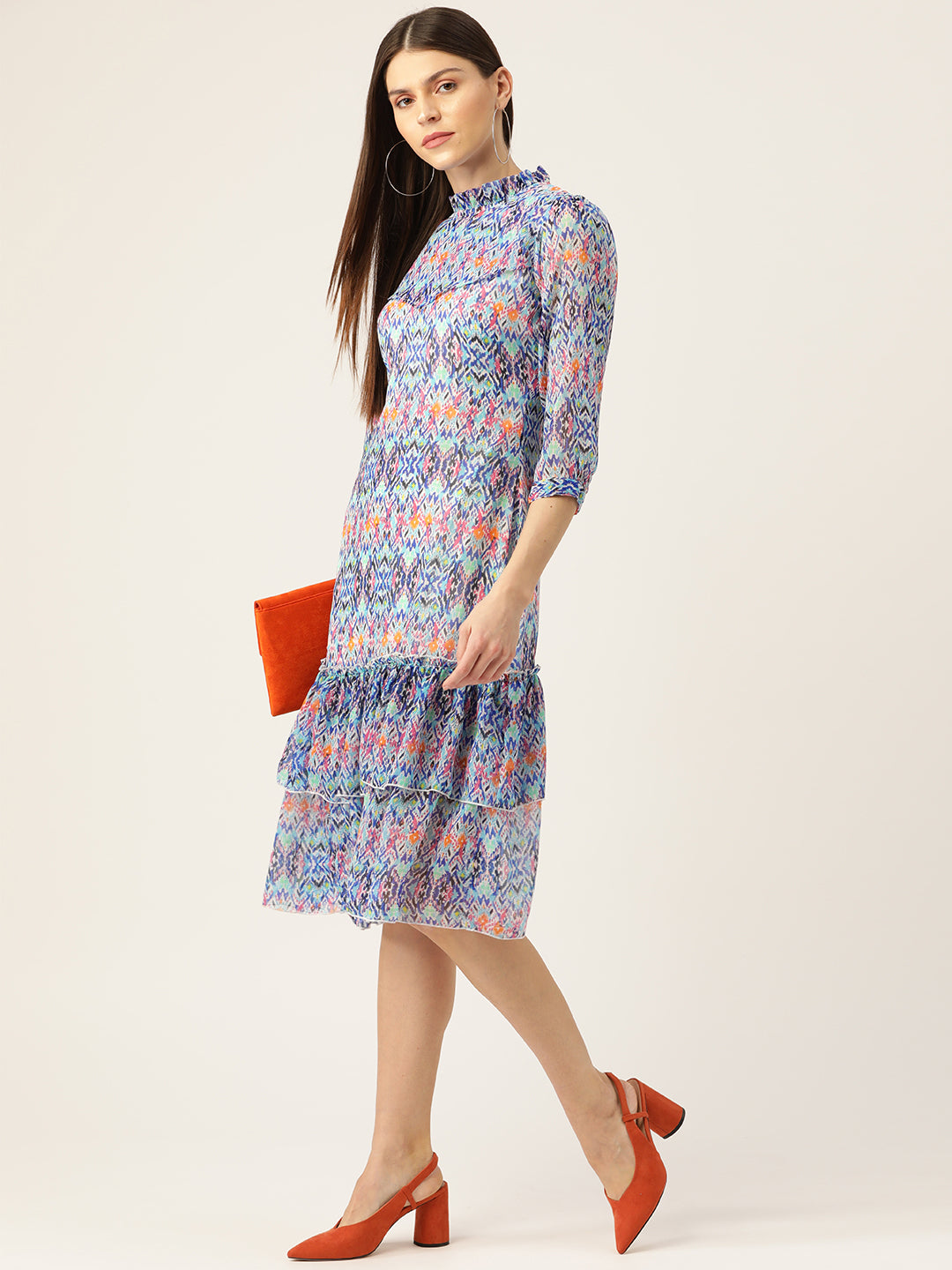 Multicolored Printed layered A-line dress