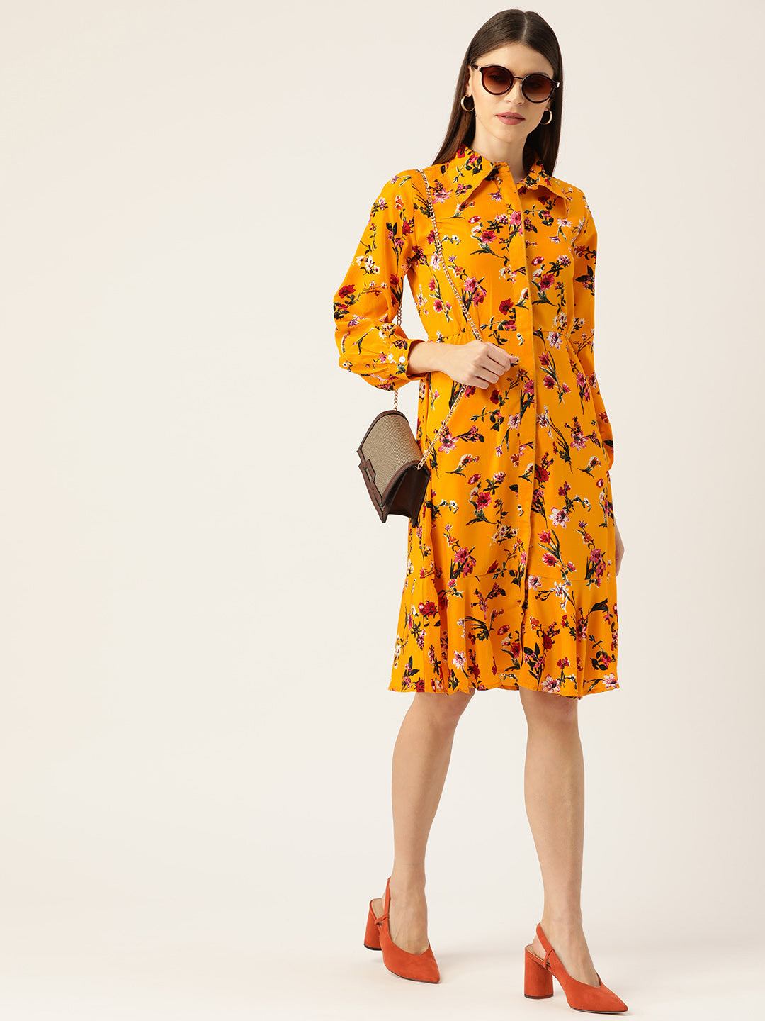 Women Mustard Yellow & Pink Printed Shirt Dress