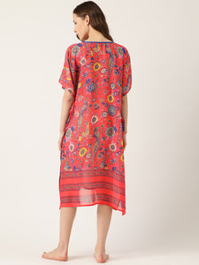 Women Coral Red & Blue Printed Cover-Up Kaftan Dress
