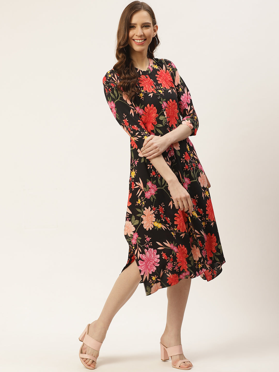 Women Black & Orange Floral Print A-Line Dress