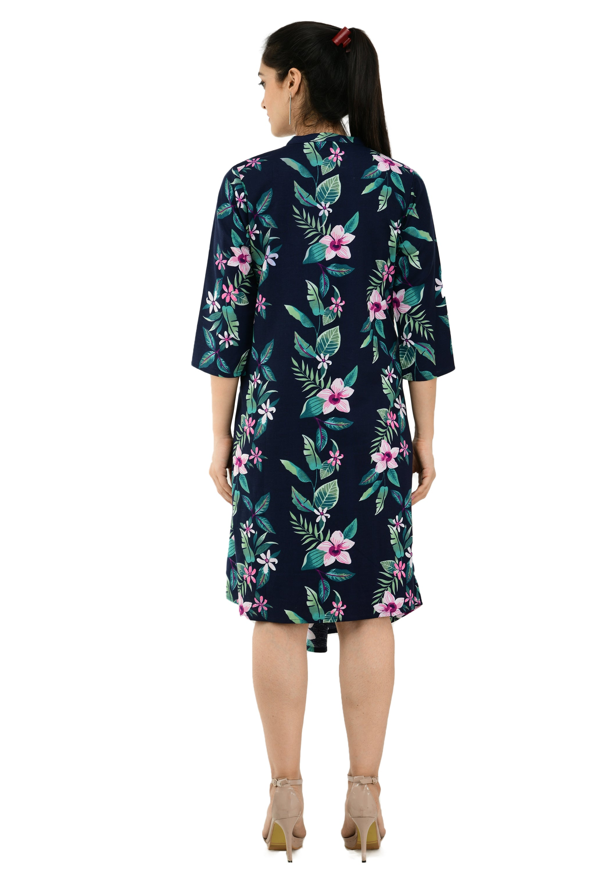 Women Navy Blue Printed Wrap Dress