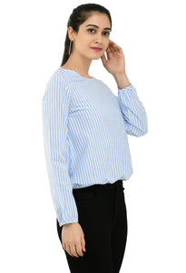 Women Blue And White Striped Top