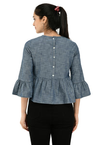 Women Grey  solid Peplum Top