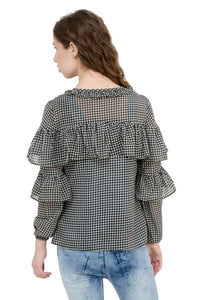 Black Checkered Georgette Ruffle Top