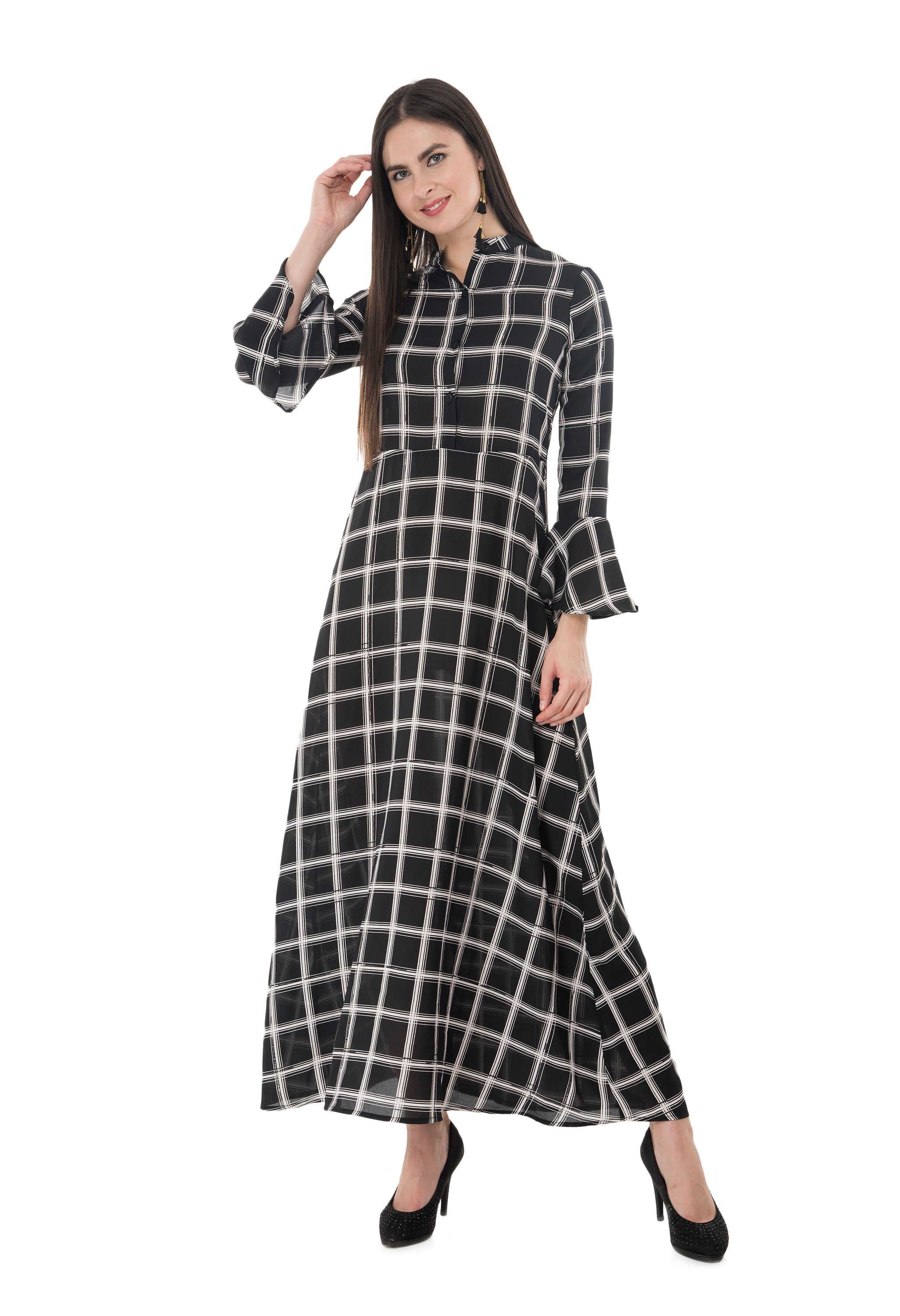 Black Checkered Maxi Dress