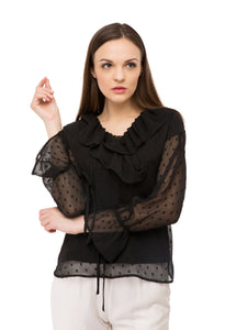 Black Solid Ruffled Top
