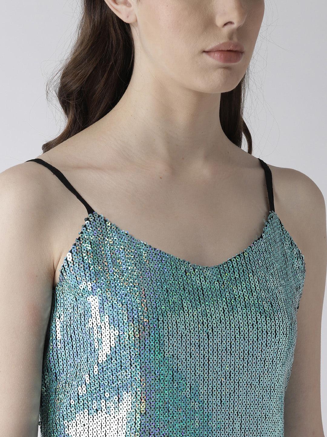 Women Blue Sequinned A-Line Dress