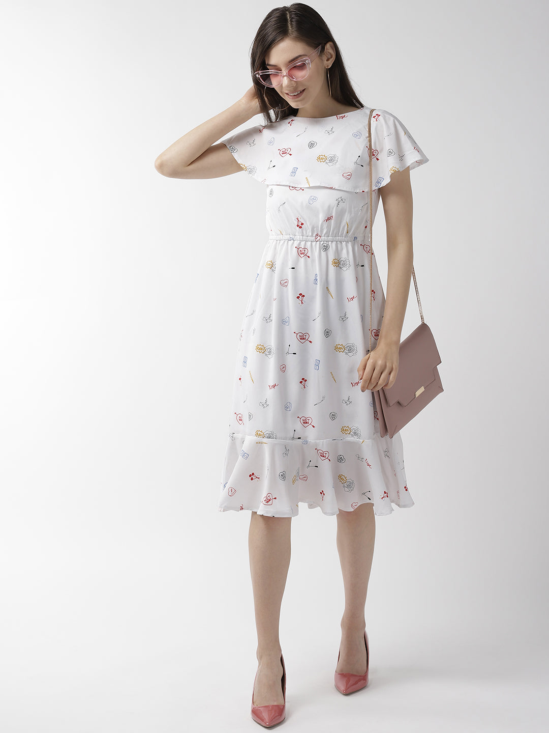 Women White & Red Quirky Print A-Line Dress