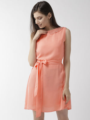 Women Peach-Coloured Solid A-Line Dress