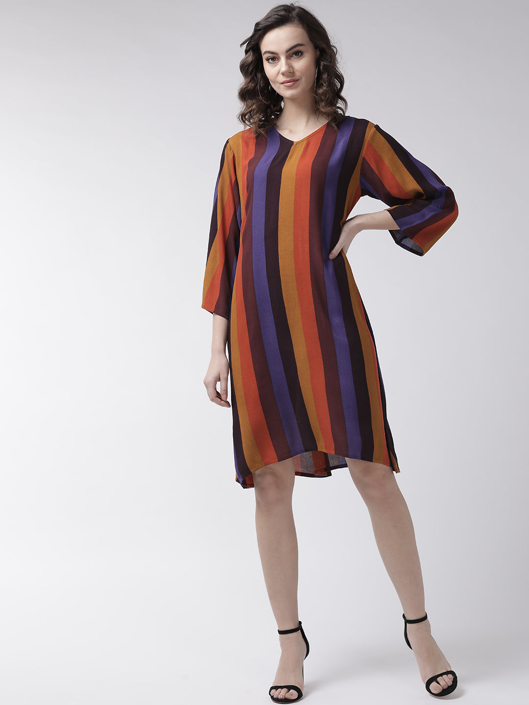 Women Mustard Yellow & Rust Orange Striped A-Line Dress