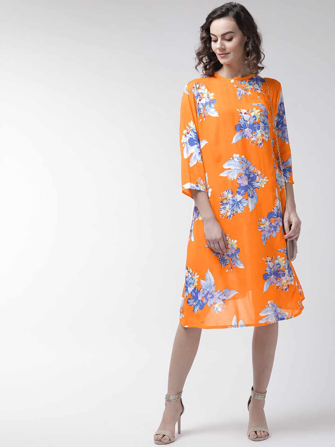 Women Orange & Blue Printed Wrap Dress