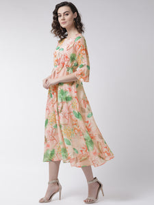 Women Peach-Colored & Green Floral Print A-Line Dress
