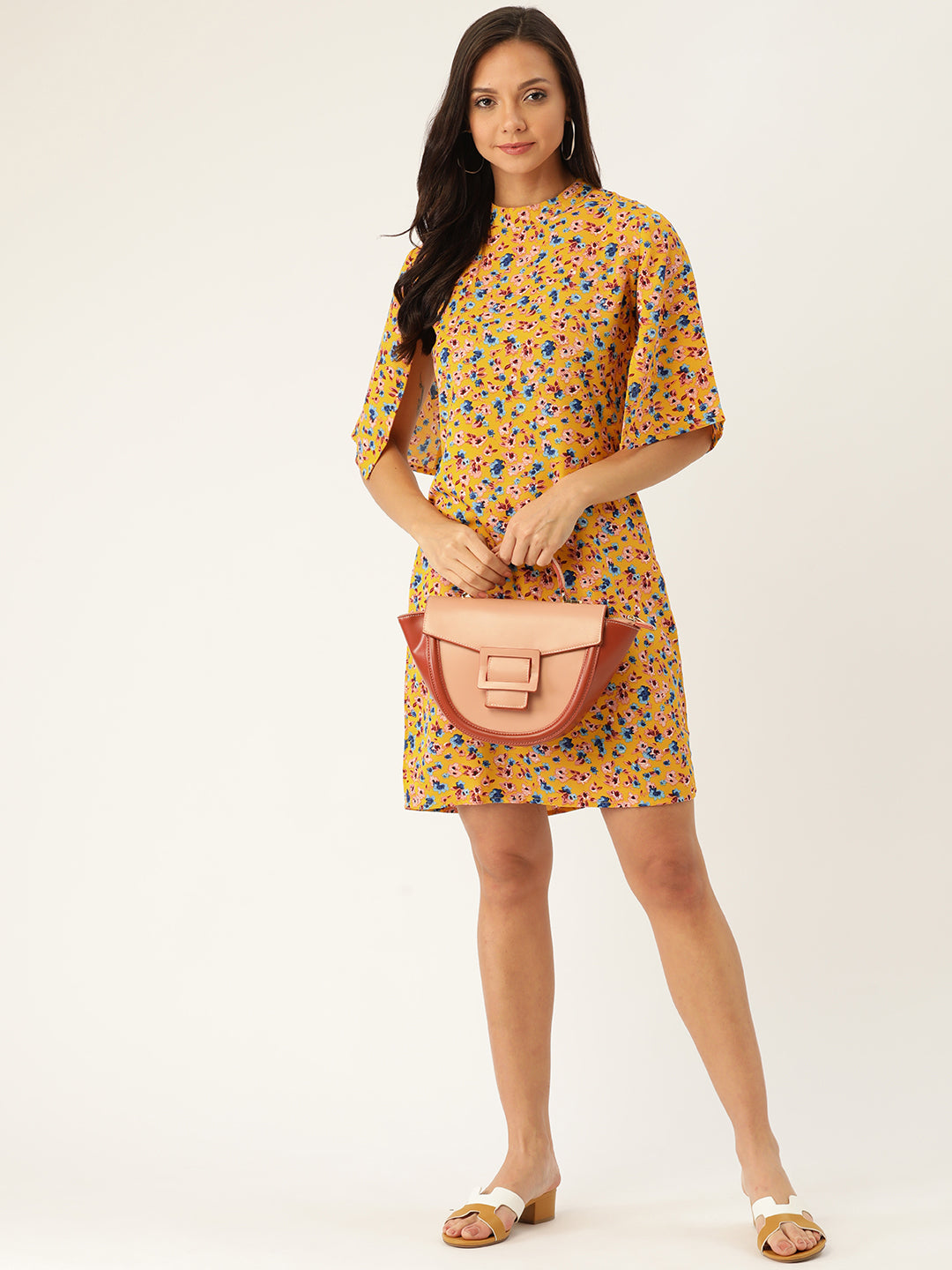 Rue Collection Women Yellow & Blue Floral Printed A-Line Dress