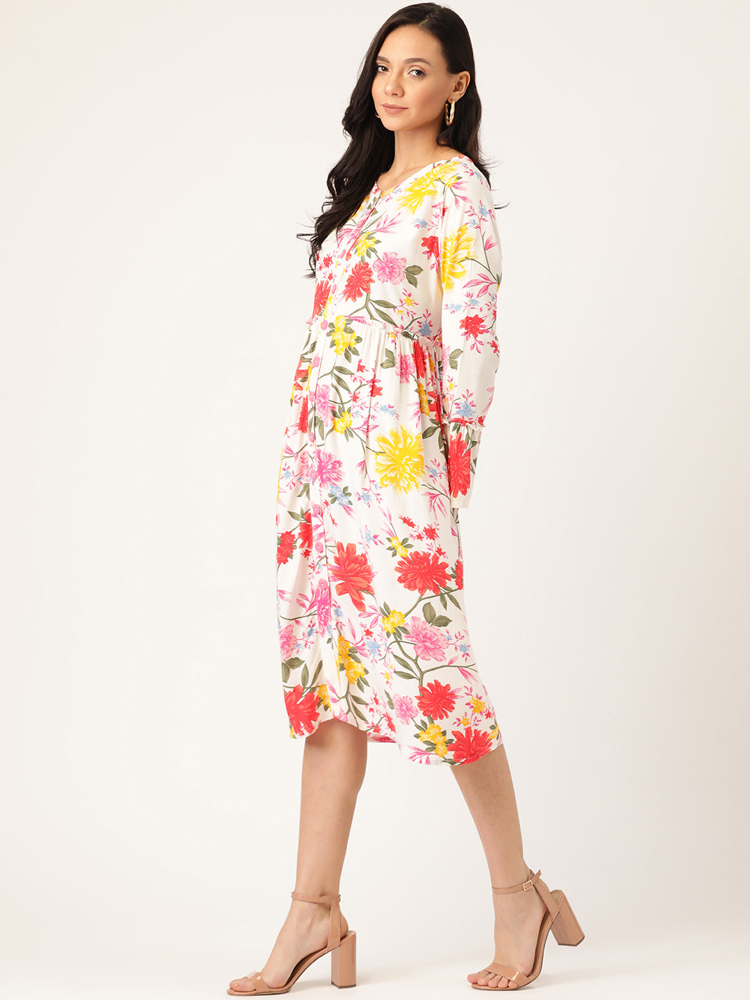 Women White & Red Tropical Print A-Line Dress