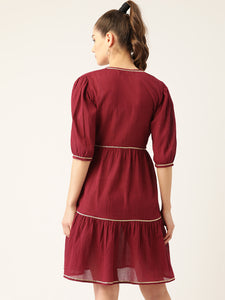 Women Maroon Cotton Crinkled Effect Solid Tiered Wrap Dress