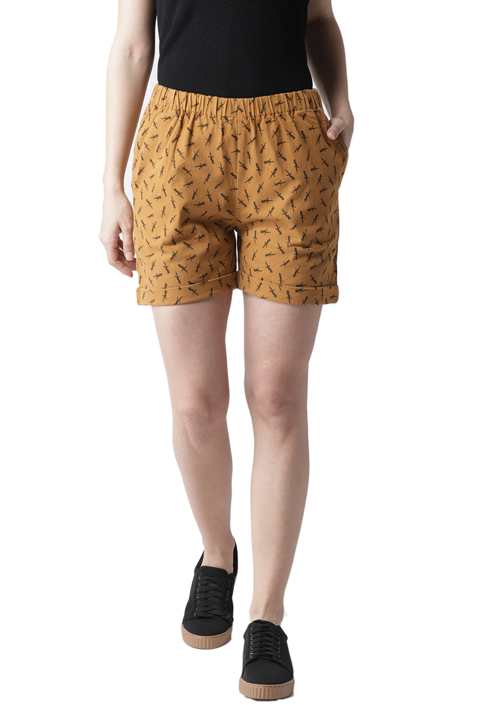 Rue Collection Mustard Brown & Black Printed Regular Shorts