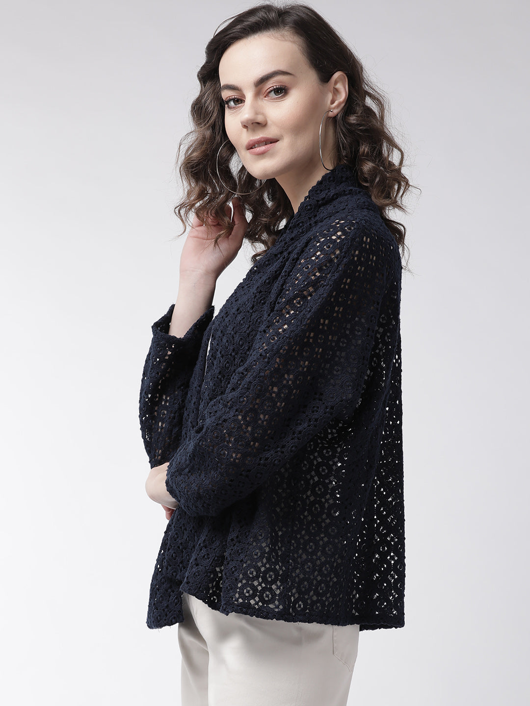 Women Navy Blue Self Design Open Front Shrug