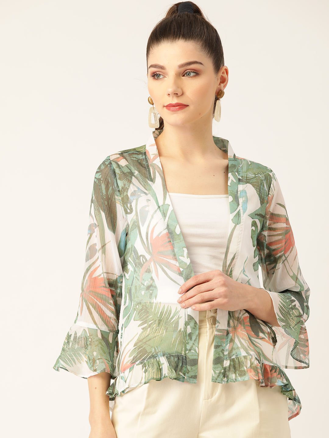 Women Green & White Tropical Print Open Front Shrug