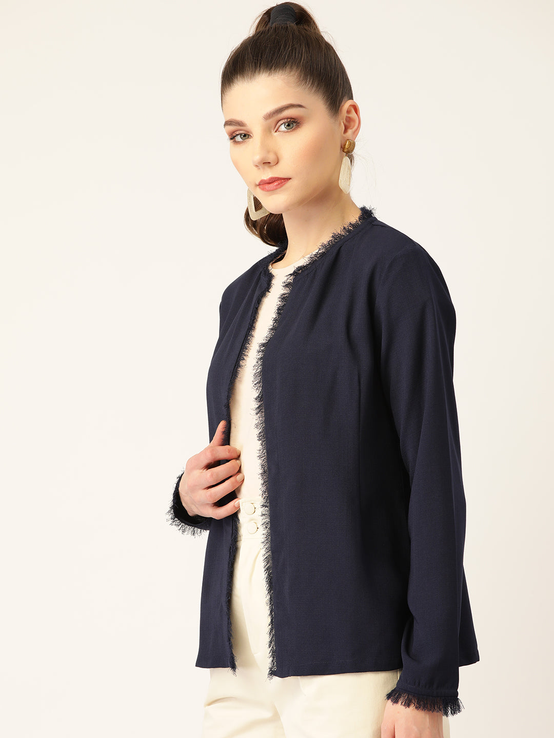 Women Navy Blue Solid Open Front Shrug