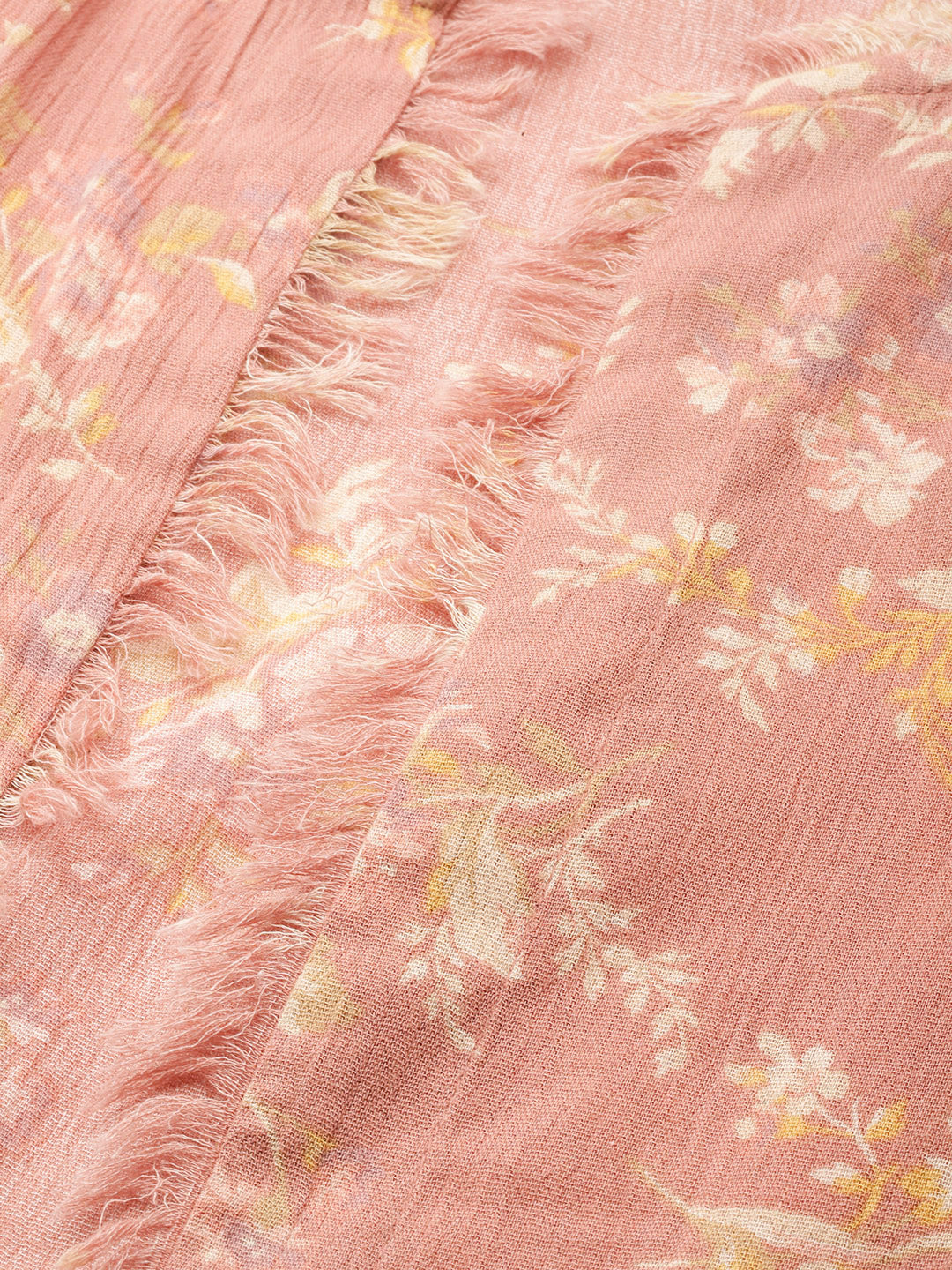 Women Peach & Cream-Coloured Pure Cotton Floral Print Open Front Shrug
