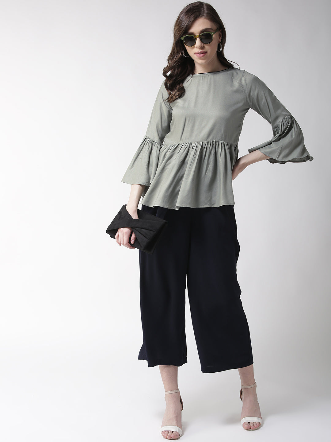 Rue Collection Women Green Solid A-Line Top