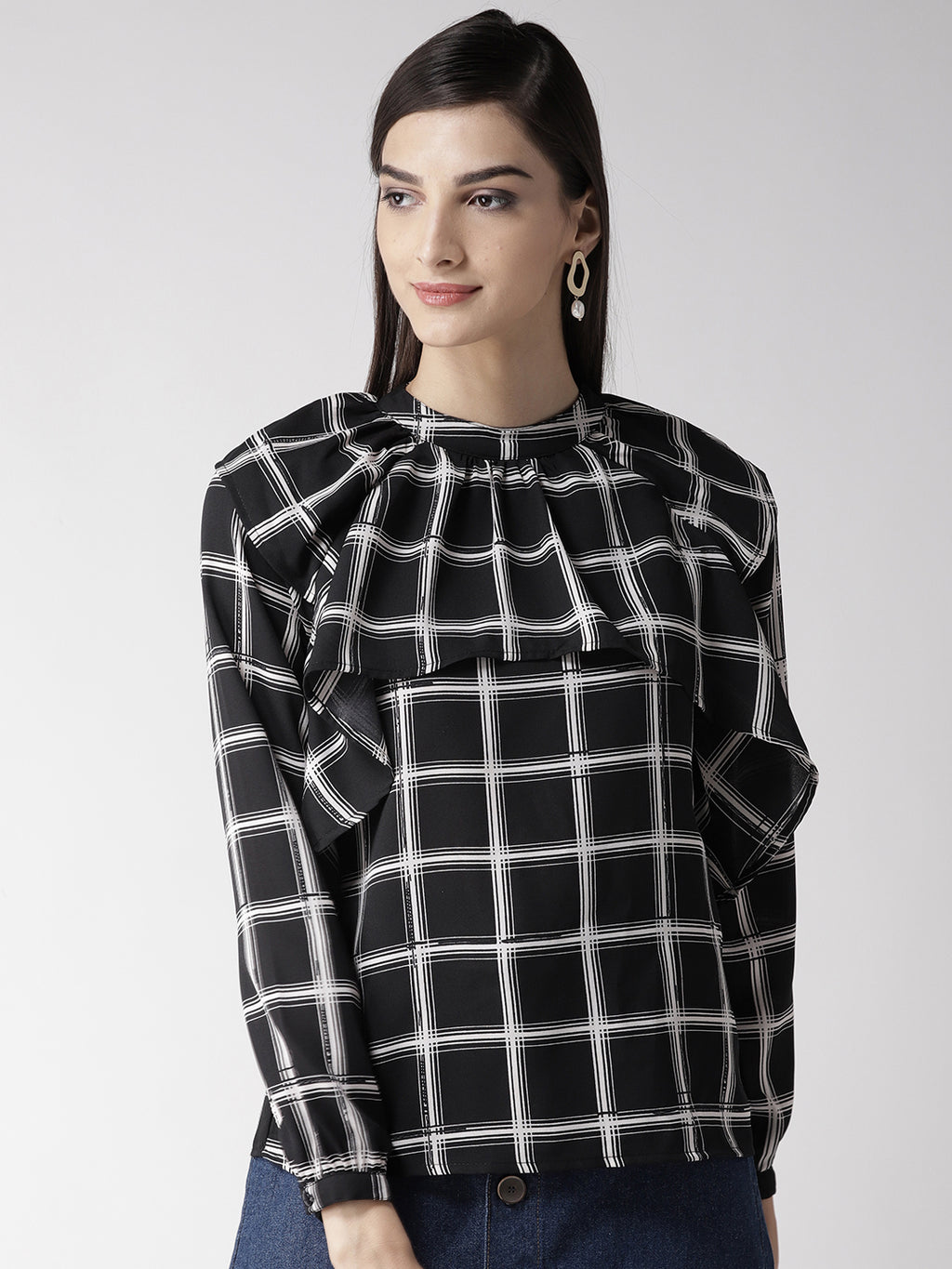 Women Black & White Layered Checked Top