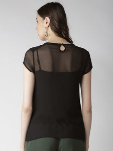 Women Black Solid Semi-Sheer Top