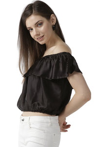 Women Black Solid Satin Finish Cropped Bardot Top