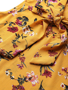 Women Yellow & Red Printed Top