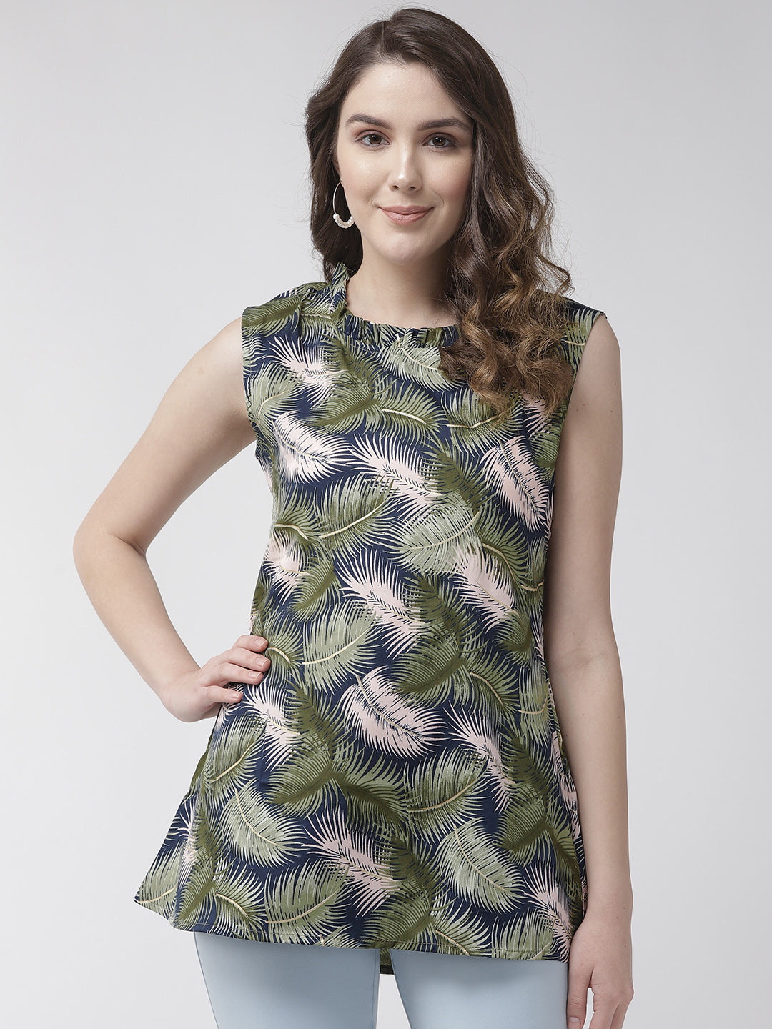 Women Olive Color Tropical Printed top