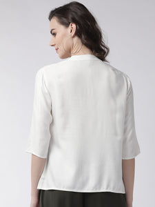 White solid casual shirt top