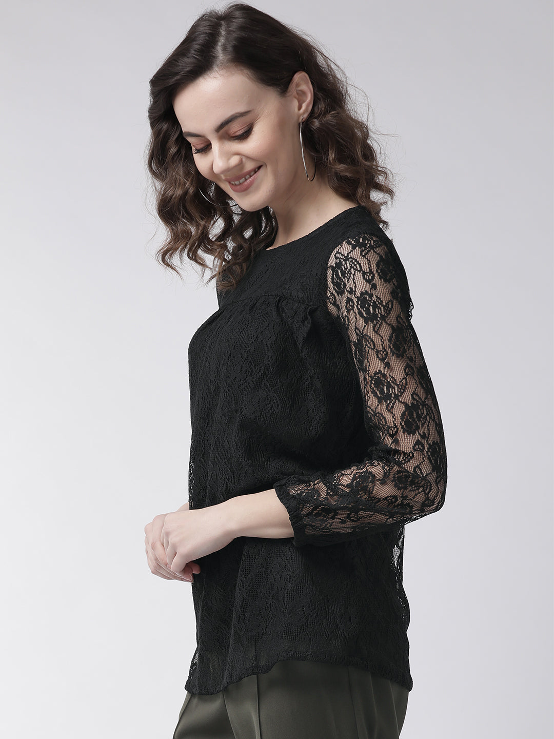 Black lace woven top