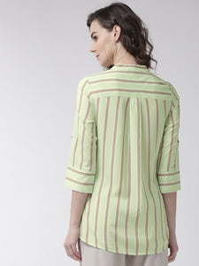 Green and grey striped shirt-style top