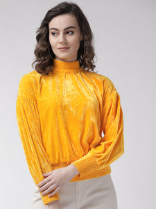 Rue Collection Women Yellow Solid Velvet Finish Blouson Top