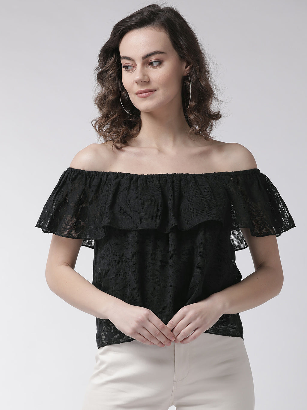 Women Black Self Design Bardot Top