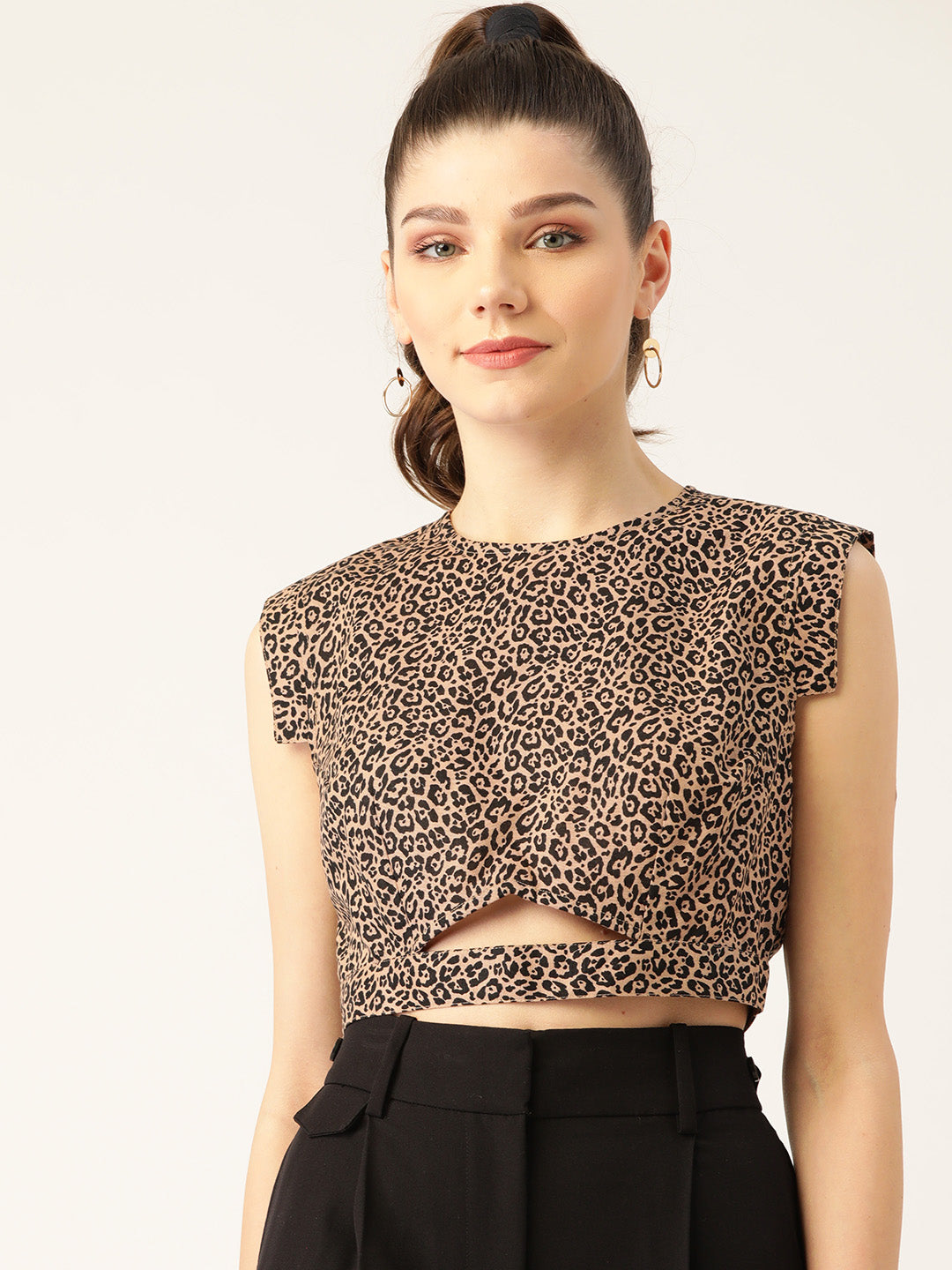 Women Beige & Black Animal Printed Pure Cotton Crop Top