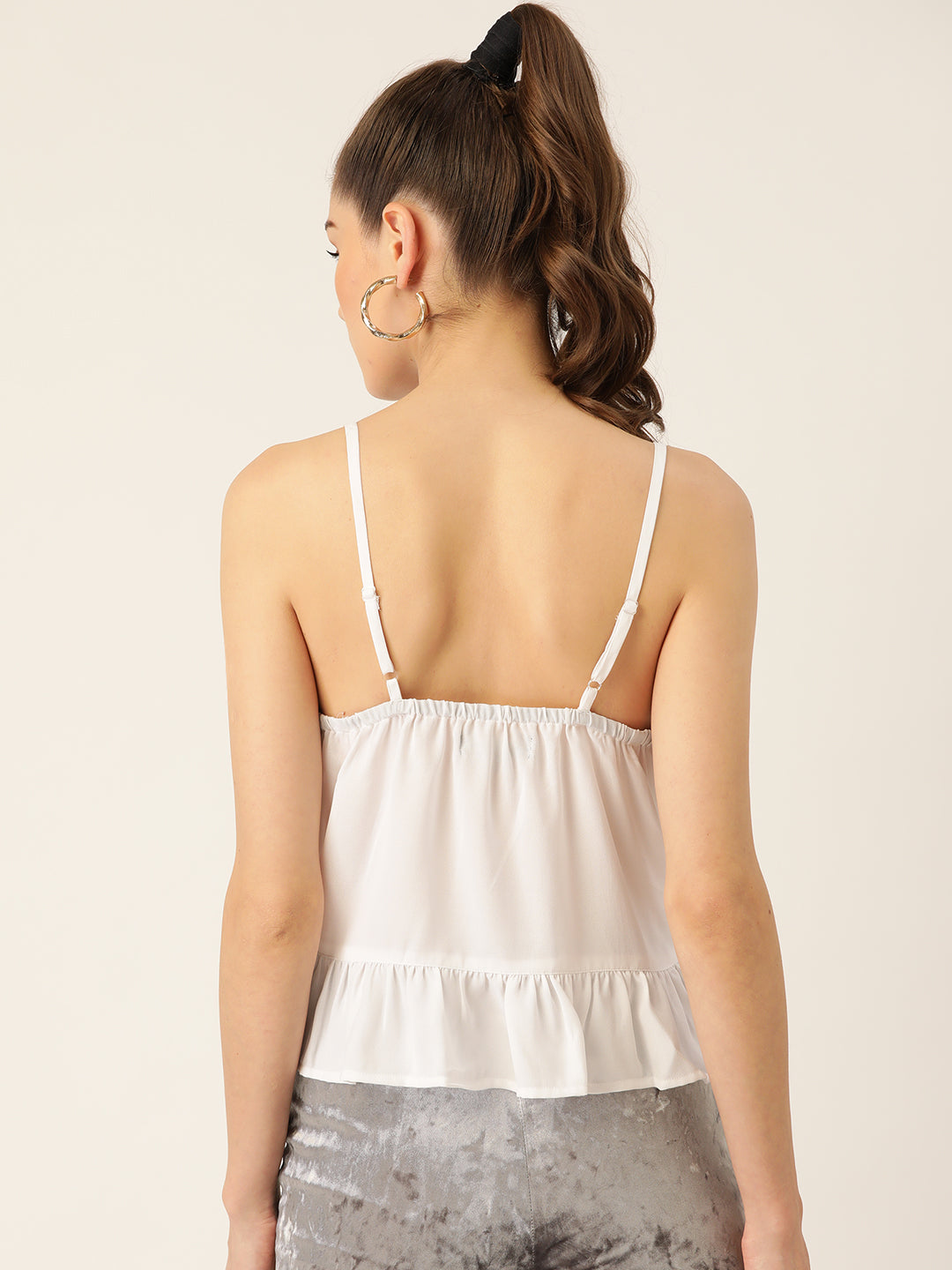 Women White Solid Top