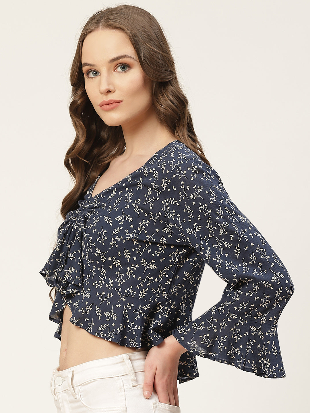 Navy Blue & White Printed Bell Sleeves Crop Top